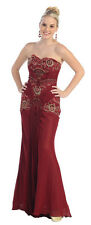 Plus Size Long Strapless Lace Chiffon Formal Evening Gown Hand Beaded