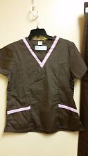 Fashion Seal Healthcare Unisex Scrub Top V-Neck S/Sleeve & Pants NWOT BROWN/Pink