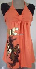 Maternity Womens Shirt Top Orange Black Sleeveless Blouse Size S New