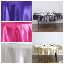 """90"""" SATIN Round TABLECLOTHS Wedding Party Fundraiser Table Linens Decorations"""