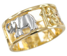 14k Two-tone Gold Lucky Owl, Elephant, Horseshoe, Thirteen, Cross Unisex Ring