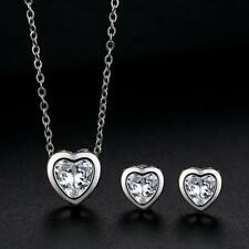 Elegant 925 Sterling Silver 3.0 Cts CZ *Heart* Jewelry Set: Necklace+Earring