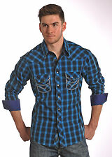 ROCK & ROLL COWBOY OMBRE POPLIN PLAID WESTERN SHIRT W/SADDLE STITCHING B2S5420