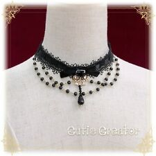 Japanese Sweet Gothic Lolita Black Lace Bow Pendant Bead Chain Vintage Necklace