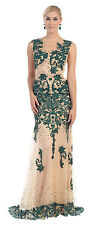 Long Cap Sleeve Lace Sequins Mesh Plus Size Formal Evening Gown Beaded