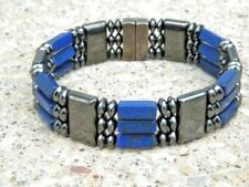 HEALTH Men's Women's All Magnetic LAPIS Bracelet Anklet SUPER STRONG Clasp 3 row