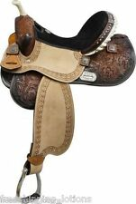 "16"" DOUBLE T BARREL SADDLE WITH BARREL RACER CONCHOS FULL QH  BARS MEDIUM OIL"