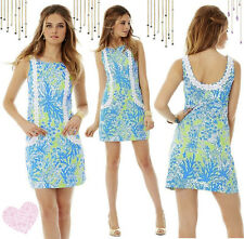 $198 Lilly Pulitzer Casey Limeade Biggest Fan Lace Front Shift Dress 10