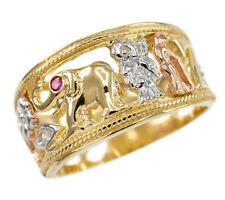 Tri-tone Solid Gold Red CZ Owl, Elephant, Horseshoe,Evil Eye, Seven and Flower.