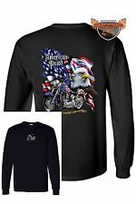 Long Sleeve Biker Shirt American Pride Motorcycle USA Flag Bald Eagle Chopper