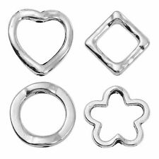 10 Hollow beads silver Heart Flower or Circle Spacer beads Spacer Frame