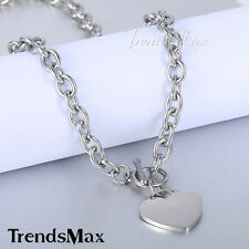 8mm Mens Chain Silver Tone Stainless Steel Oval Link Heart Charm Necklace w T/O