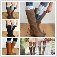 Stretch Lace Boot Cuffs Flower Leg Warmers Lace Trim Toppers Socks Color Top