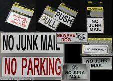 No Junk Mail, PULL & PUSH, No Smoking, Beware of Dog, No Parking Sign
