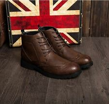 New Mens Brogue Oxford Wing Tip Ankle Boots Lace Up Casual Dress Shoes
