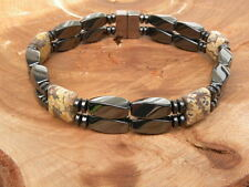 Men's Women's Magnetic Bracelet Anklet Snake Skin Jasper SUPER STRONG 2 row