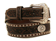 Nocona Western Mens Belt Star Conchos Leather Brown N2419002