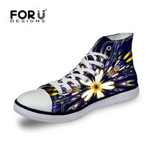 Floral Flower Lady's Womens Lace-up High Top Shoes Sneakers Casual Canvas Shoes