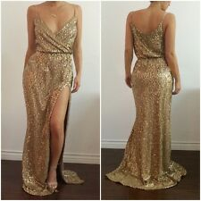 Sexy Sequin Plunge Vneck Spaghetti Strap High Slit Cocktail Prom Maxi Long Dress