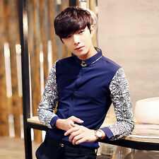 New Men's Fashion Slim Fit Contrast Color Long Sleeve Formal Dress Casual Shirts
