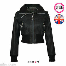 NEW BLACK FAUX LEATHER CROPPED JACKET BIKER WOMENS LADIES COAT 10 12 14 16 UK