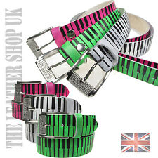38mm Mens Womens Piano Print Colourful Real Leather Handmade Belt In UK