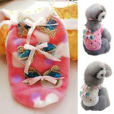 Small Pet Dog Cat Bow Sweater Pullover Puppy Warm Fleece Coat Clothes Size S-XXL