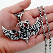 """Men's Flying Grim Reaper Stainless Steel Pendant Box Chain Necklace 18""""- 36"""""""
