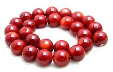 "SALE Red 14-15mm round High quality  natural Coral loose beads strand 15""-los641"