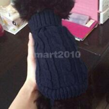 Dark blue Pet Dog Puppy Turtleneck Knitwear Sweater Clothes Apparel Coat 4#-12#
