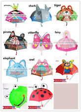 Kids Girls Boy Novelty Cartoon 3D Pop-up Ear Dome Hook Umbrella Rain Brolly Gift