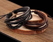 Bracelet Wristband Black Brown Genuine Leather Womens Mens Cuff Woven Layered