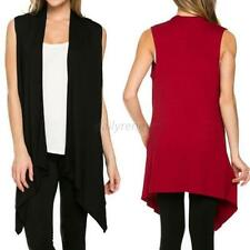 Women's Open Front Vest Long Tunic Shawl Collar Draped Cardigan Tops Clothing