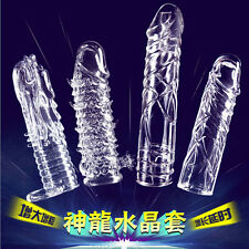 Men Flexible Enlarger Extender Penis Sleeve,Condom Erection Impotence Aid 4size