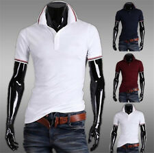 2016 New Mens Stylish Casual Tee Shirt Slim Fit Short Sleeve Polo Shirt T-shirts