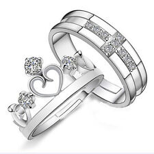 Silver Prince Princess Queen Couple Rings Wedding Band His and Her Promise Ring