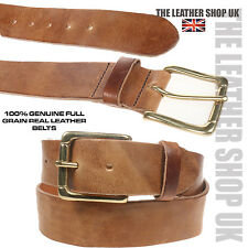 40mm For Jeans Trousers Made In UK Tan Hide Soft Real Leather Brass Buckle Belt