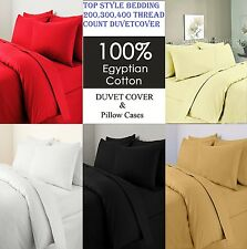 300 Thread Count Duvet Quilt Cover Pillow Case 100% Egyptian Cotton Bedding Set