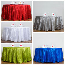"""6 pcs 108"""" Round Pintuck Fancy TABLECLOTHS Wedding Party Table Linens Wholesale"""