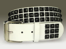 Snap On Three Row Punk Rock Star Black Studded White Leather Belt
