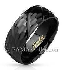FAMA 316L Stainless Steel Black IP Honeycomb Diagonal Groove Ring Band Size 9-13