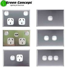 NEW Standard Light Switch Power Point GPO with Stainless Steel Silver Cover