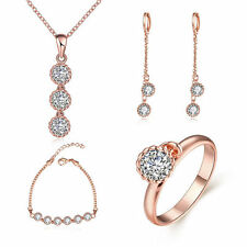 Womens Wedding 18K Gold Plated Jewelry Set Necklace + Earrings + Ring +Bracelet