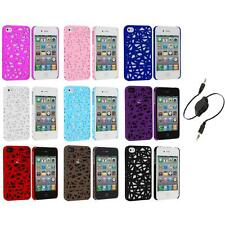 Interwove Line Bird's Nest Style Slim Case Cover+Aux Cable for iPhone 4 4G 4S