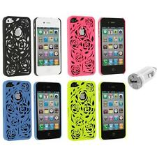 Color Lovely Carving Rose Flower Rear Hard Case+USB Charger for iPhone 4 4G 4S