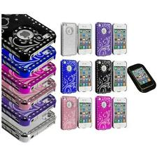 Flower Luxury Bling Rhinestone Diamond Case Cover+Sticky Pad for iPhone 4 4G 4S