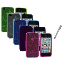 TPU Flower Butterfly Color Jelly Skin Case Cover+Metal Pen for iPhone 4S 4G