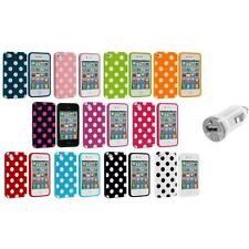 Polka Dot TPU Color Rubber Skin Case Cover+USB Charger for Apple iPhone 4 4S 4G