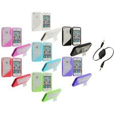 Color Clear TPU Hybrid S-Line Case Cover Stand+Aux Cable for iPhone 4 4G 4S