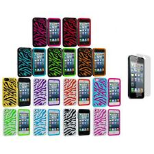 Zebra Hybrid 2-Piece Hard/Soft Case Cover+3X LCD Protector for iPhone 5 5S 5th